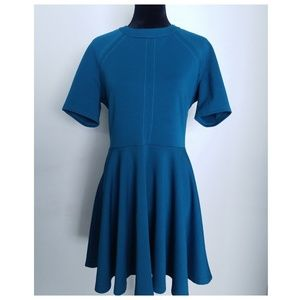 ASOS Teal Mock Neck Fit and Flare Scuba Dress